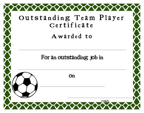 soccer certificate templates printable professional and