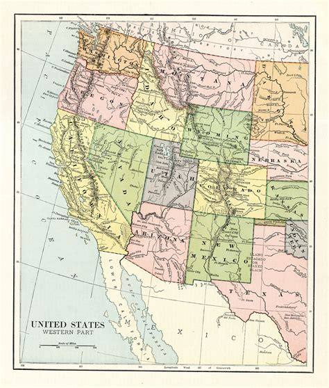 map of western united states 1887 original map of the western united states
