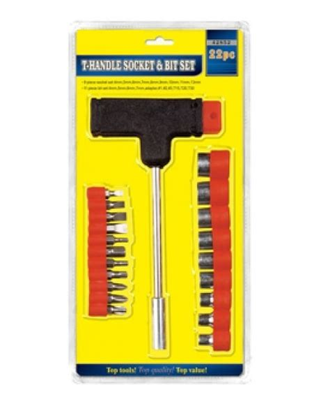 Crh 22 Bit Handle Tool Kit Ratchet Screwdriver Set Cxh 159 Obeng Set 22 pc top tool t handle socket and driver bit set top value new ebay