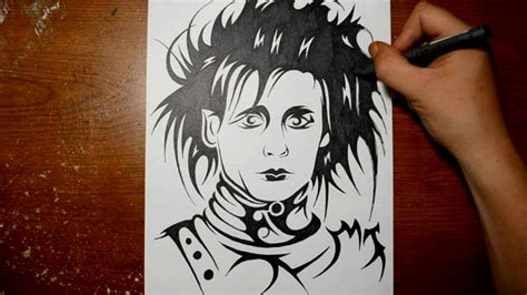 drawing edward scissor hands in a tribal tattoo design