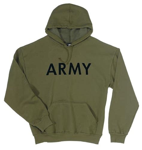 Lettering Fleece Lined Pullover olive drab pullover hooded army sweatshirt by rothco