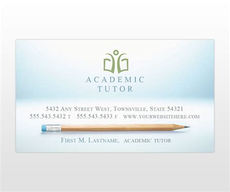 academic business cards templates academic and school tutoring services business card templates