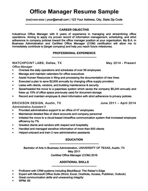 unique sle office manager resume unique sle resume for office manager position
