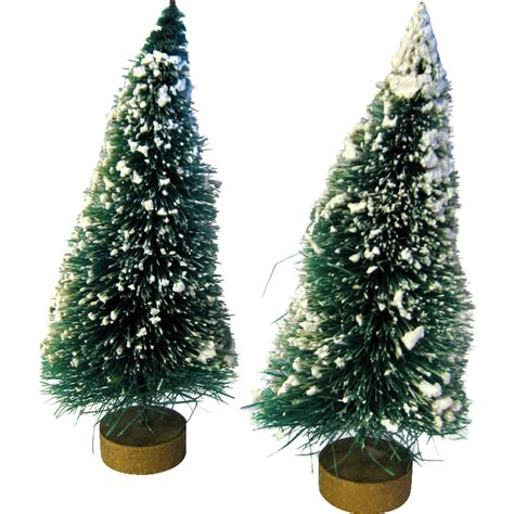 vintage flocked bottle brush trees with gold base