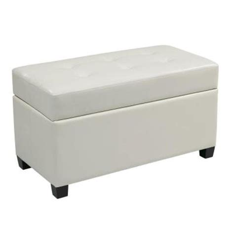 Vinyl Storage Ottoman Ospdesigns Vinyl Storage Ottoman In White Met804v Pb11 The Home Depot