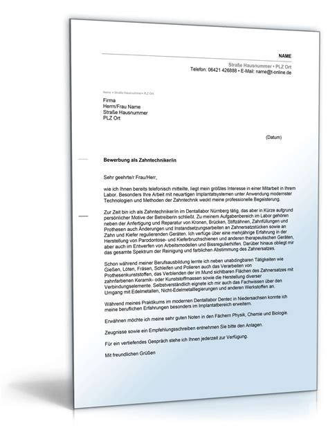 Bewerbungsschreiben Zahntechniker anschreiben bewerbung zahntechnikerin muster zum