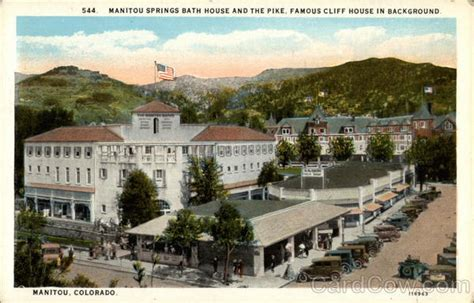 cliff house colorado springs manitou springs bath house and the pike famous cliff house in background