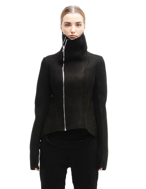 Rick Owens Lilies Layer Jacket by Leather Jacket With Neoprene Lining By Rick Owens Lilies