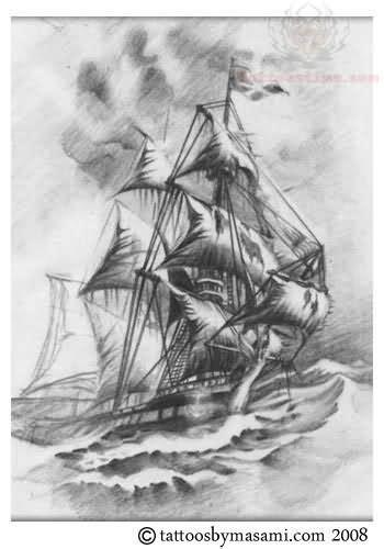 nas unforgettable unforgettable grey ink pirate ship tattoo photo 2 2017