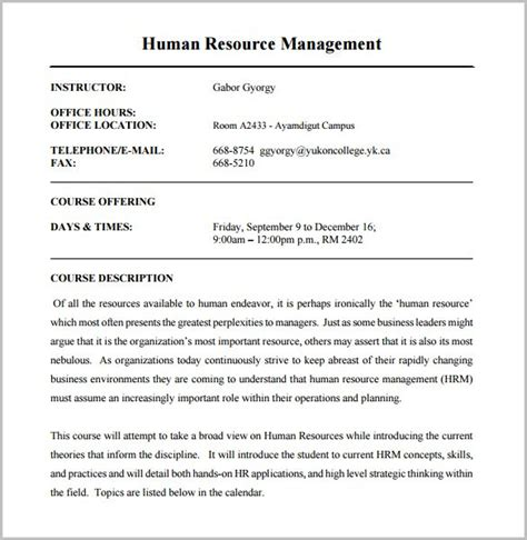 course outline template course outline template 10 free sle exle format