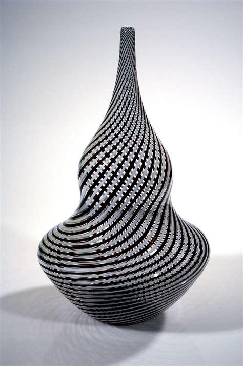 Black And White Vase Black And White Twisted Vase Rubino Glass