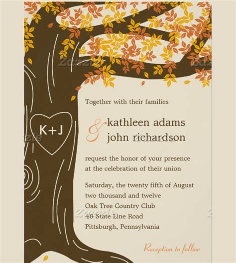 26 Fall Wedding Invitation Templates Free Sle Exle Format Download Free Premium Oak Tree Wedding Invitation Templates