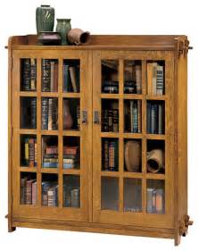 Craftsman Bookshelves Stickley Double Bookcase With Glass Doors 89 645