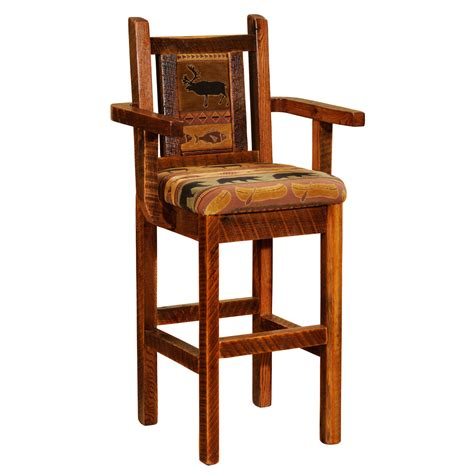 Bar Stool With Arms Artisan Barnwood Upholstered Bar Stool With Arms