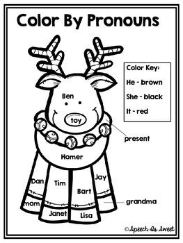 Color By Pronouns: Christmas Edition by Speech Is Sweet | TpT