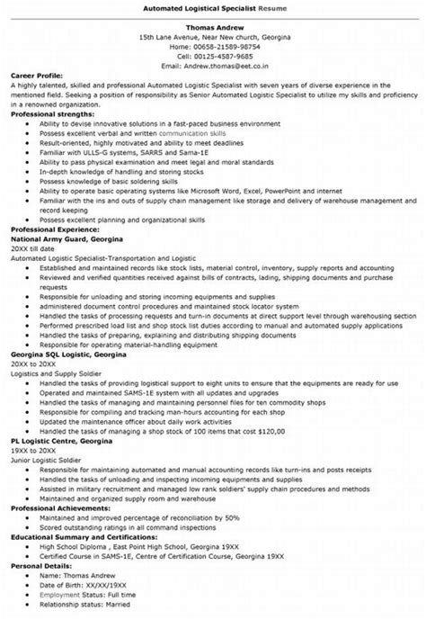 Automated Logistical Specialist Sle Resume by Sle Resumes For Warehouse 28 Images Warehouse Associate Resume Warehouse Associate Resume