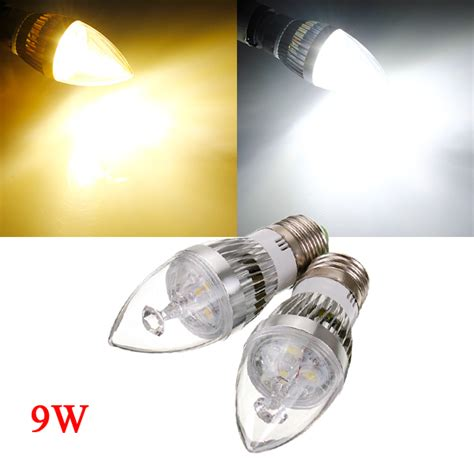 dimmable e27 6w white warm white 3 led silver candle light bulb 220v alex nld