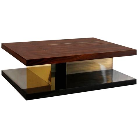 Glossy Coffee Table Coffee Table With High Glossy Lacquer Veneer Wood And Brass For Sale At 1stdibs