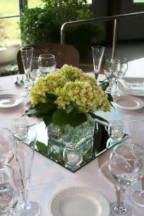 square centerpiece on square mirror with rolley polley