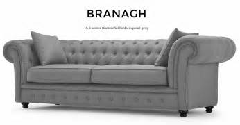 Auto Slipcovers Branagh 3 Seater Grey Chesterfield Sofa Made Com
