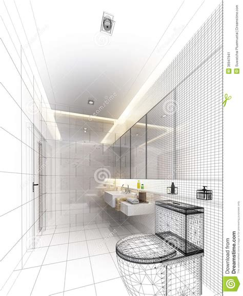 sketch of bathroom sketch design of interior bathroom stock image image 36947941