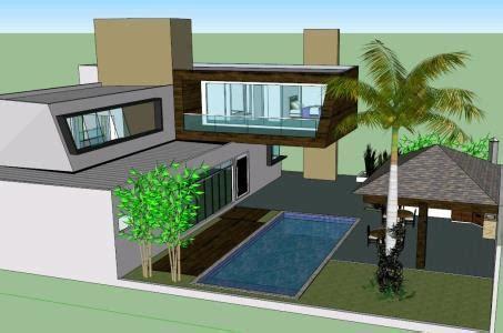 modern house  skp model  sketchup designs cad