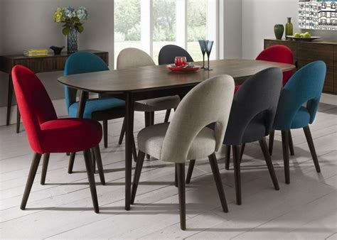 Dining Table With Upholstered Chairs Retro Walnut Extending Dining Table With 8 Upholstered Dining Chairs