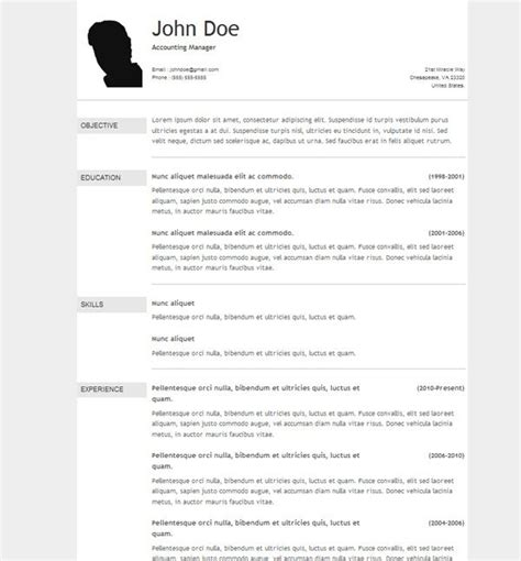 resume templates free download 10 free download cv