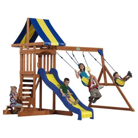 outdoor swing and slide sets providence wood play set 40112com playhouse and slide with