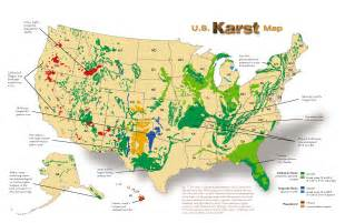 sinkholes and karst terrain regions in america 1900 2015