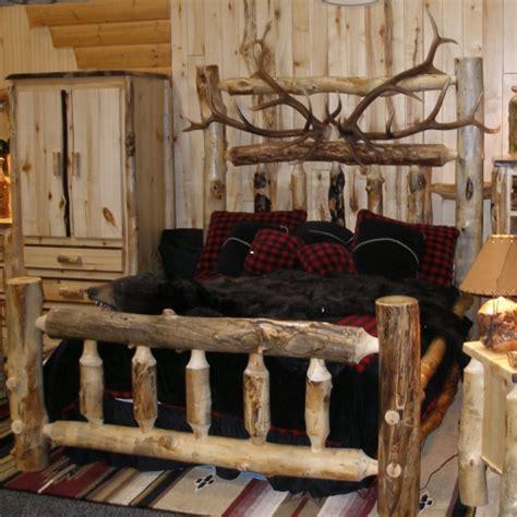 elk antler and aspen log bed