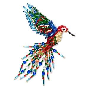 homemade hummingbird ornaments ornament glass multicolored 5 1 2 inch seed beaded hummingbird sold individually
