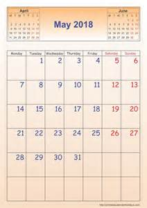 Calendar 2018 May May 2018 Calendar Template Portrait Printable 2017