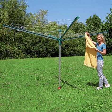 Backyard Clothesline by Leifheit Outdoor Linomatic 500 Deluxe With 164ft Rotary