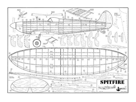 spitfire  balsa wood model airplane plans rc