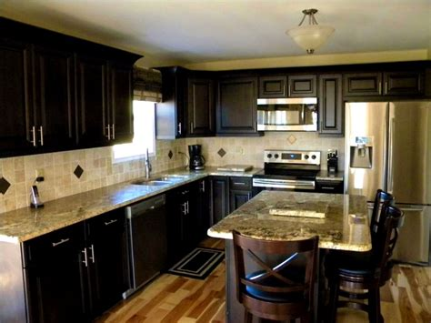 dark cabinets light countertops bathroom handsome kitchen dark cabinets light