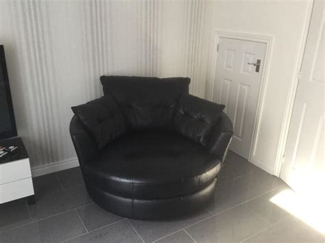 Leather Armchair Cheap Black Leather Cuddle Chair In Paisley Renfrewshire