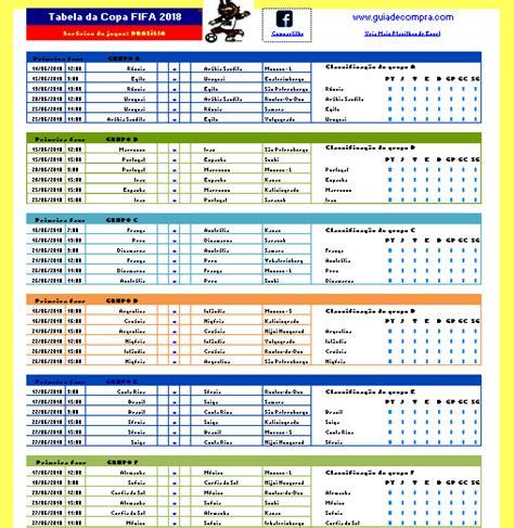 Tabela Da Copa Tabela Da Copa 2018 Copa Do Mundo Guia De Compra