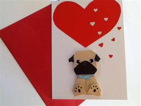 Origami Pug - origami pug birthday card handmade card for