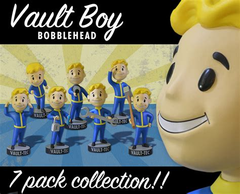 fallout bobblehead 7 pack gaming heads fallout 3 vault boy bobbleheads series