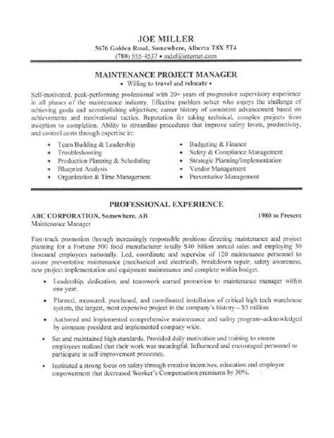 maintenance supervisor resume template maintenance manager resume sle all trades resume