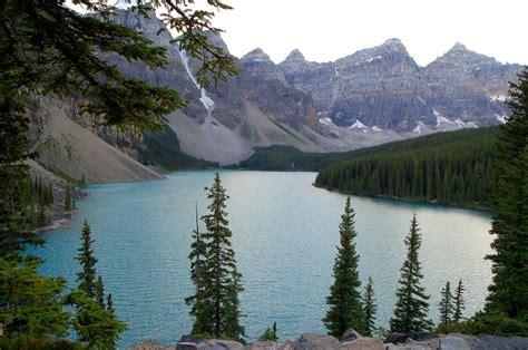 con al parco pi 249 alberi e meno lago moraine en el pn de banff masa de agua en parque