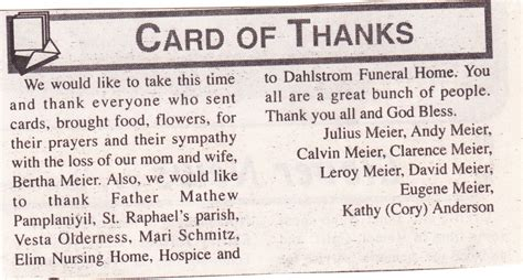 thank you letter after funeral for newspaper dickey county ndgenweb obituaries