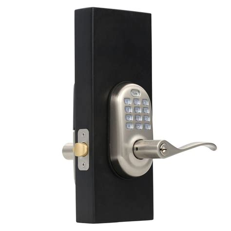 yale real living push button satin nickel lever 084033