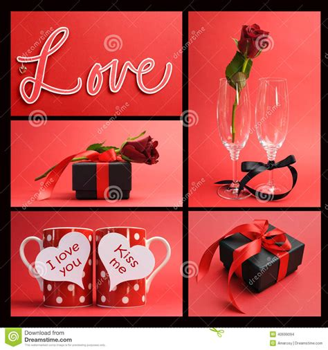 love themes words valentines day or love theme collage stock photo image