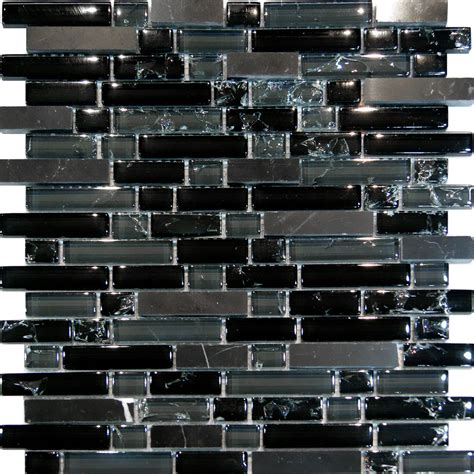 Black Glass Tiles For Kitchen Backsplashes | 10sf black marble crackle glass linear mosaic tile