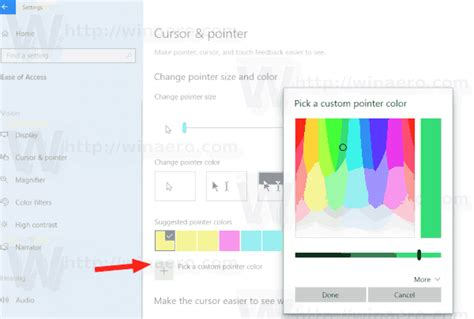 cursor color change mouse pointer color in windows 10