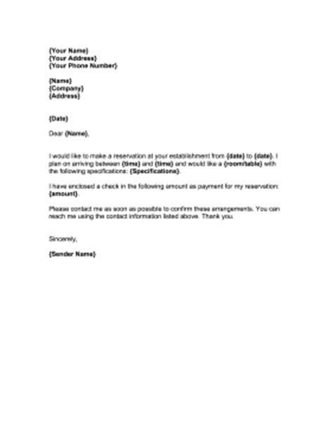 Reservation Table Letter Reservation Request Letter Template