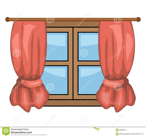cartoon curtains cartoon window with curtains vector symbol icon design