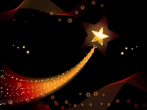 festive shooting star with blended gold light ppt